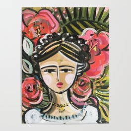 """Portrait """"Mexican Girl"""" Face art Poster"""