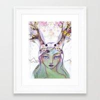 jane davenport Framed Art Prints featuring Dear Deer by Jane Davenport by Jane Davenport