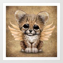 Cute Baby Cheetah Cub with Fairy Wings Art Print