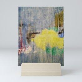 Rainy Day Grey, Rain, Water, Car, Abstract, Blue, Painting by Jodi Tomer Mini Art Print
