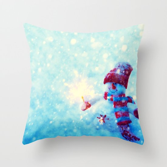 Cute Throw Pillow Society6 : Cute snowman watercolor freeze Throw Pillow by Juliana RW Society6