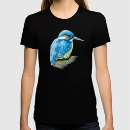 Kingfisher ornithology bird fine art watercolor T-shirt
