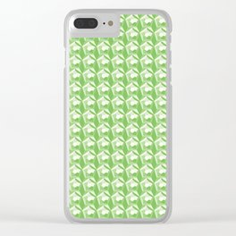 3D Optical Illusion: Green Dodecahedron Pattern Clear iPhone Case