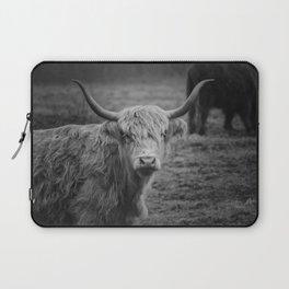 Highland Cow Black and White Photo Laptop Sleeve