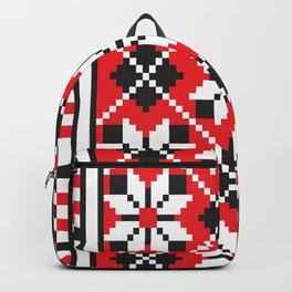 Slavik red, black and white floral cross stitch design pattern. Backpack
