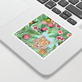 Jungle Tiger Tropical lovebirds Art by Magenta Rose Designs Sticker