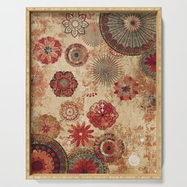 Bohemian Floral Moroccan Style Design Serving Tray