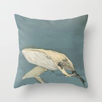 whales Throw Pillows featuring Whales by Mikael Biström