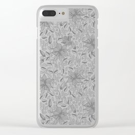 FLOWERS, PETALS AND HEARTS - GRAY Clear iPhone Case