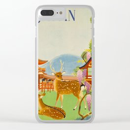 Vintage Mid Century Modern Japan Travel Poster Deer Red Pagoda Wisteria Garden Clear iPhone Case