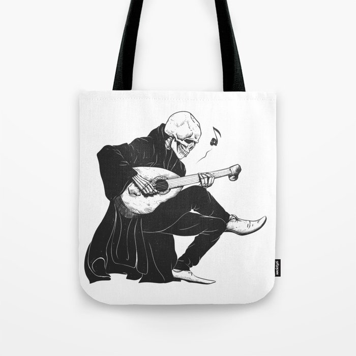 Minstrel playing guitar,grim reaper musician cartoon,gothic skull,medieval skeleton,death poet illus Tote Bag