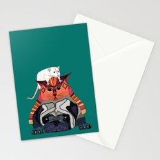 mouse cat pug teal Stationery Cards