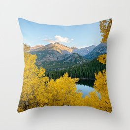 BEAR LAKE AUTUMN COLORADO ROCKY MOUNTAIN NATIONAL PARK FALL LANDSCAPE Throw Pillow