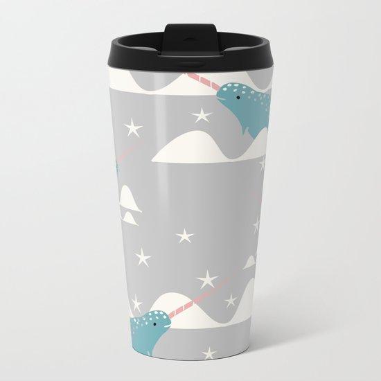 narwhal in ocean grey Metal Travel Mug