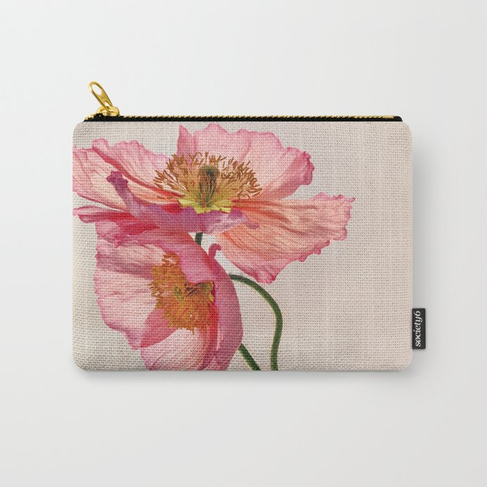 Like Light through Silk - peach / pink translucent poppy floral Carry-All Pouch