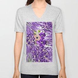 Lilac violet lavender lime green floral illustration Unisex V-Neck