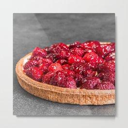 Homemade raspberries pie tart baked shot on grey abstract background Metal Print