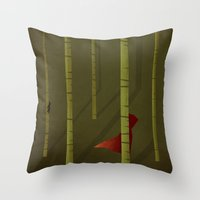 red hood Throw Pillows featuring Little Red Ridding Hood by Christian Jackson