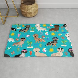 Dachshunds beach summer tropical vacation weener dogs doxie gifts Rug