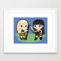 xena Framed Art Prints featuring Geek Babies: Xena & Gabrielle by Deanna Marie: Art & Design