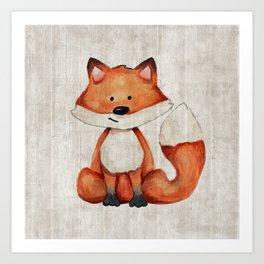 Little Fox, Baby Fox, Baby Animals, Forest Critters, Woodland Animals, Nursery Art Art Print