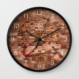 Red ivy hedge climber on wall Wall Clock