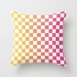 Checkerboard Color Gradient Throw Pillow