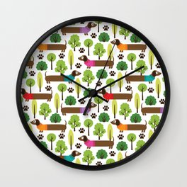 Dachshunds On A Walk In The Park Wall Clock