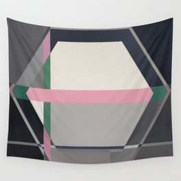 Green line -hexagon graphic Wall Tapestry