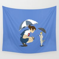 returns Wall Tapestries featuring Cat Returns by 8-bit Ghibli