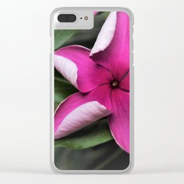 Swirled Purple Vinca Flower Clear iPhone Case