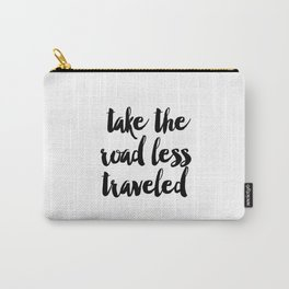 Travel Quote Print, World Map Poster, Take the Road Less Traveled, Scripture Quote, Graduation Gift, Carry-All Pouch