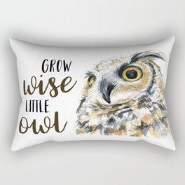 Grow Wise Little Owl Nursery Animals Art Great Horned Owl Rectangular Pillow
