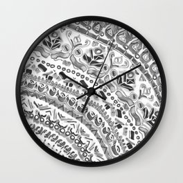 Loose Black&White Tribal Pattern Wall Clock