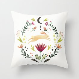 Floral Rabbit Pattern Throw Pillow