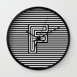Track - Letter F - Black and White Wall Clock
