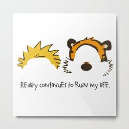 Calvin and Hobbes face Metal Print