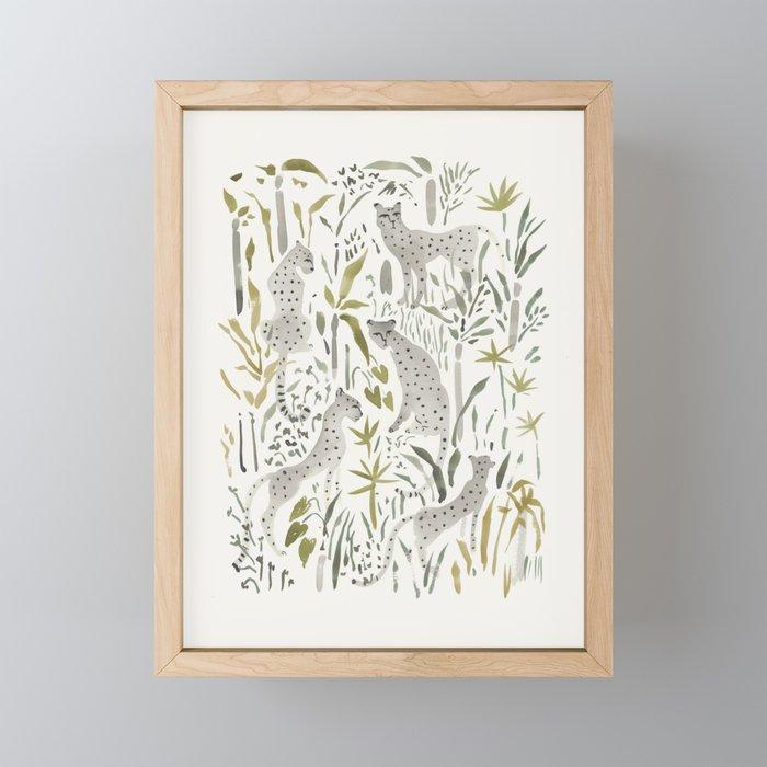 Grey Cheetahs Framed Mini Art Print
