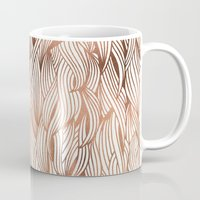 rose gold Mugs featuring Rose Gold Waves by Cat Coquillette