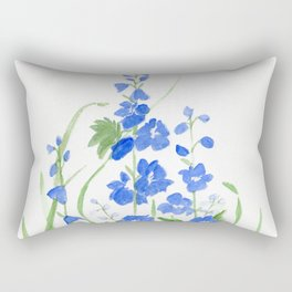 Blue Larkspur Watercolor Garden Flower Delicate Painting Rectangular Pillow
