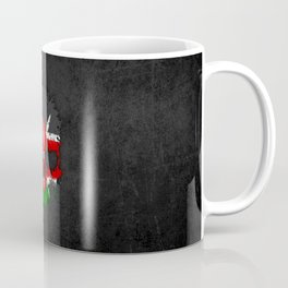 Flag of Kenya on a Chaotic Splatter Skull Coffee Mug