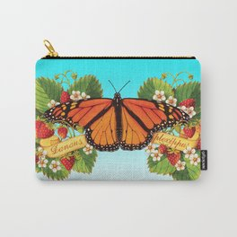 Monarch Butterfly with Strawberries on Aqua Carry-All Pouch