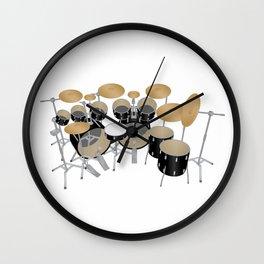Black Drum Kit Wall Clock