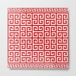 Greek Key (Red & White Pattern) Metal Print