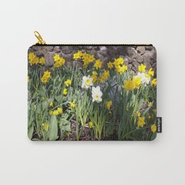Yellow and White Daffodils Against a Rock Wall Carry-All Pouch