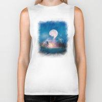 sun and moon Biker Tanks featuring Moon Above, Sun Below by Viviana Gonzalez