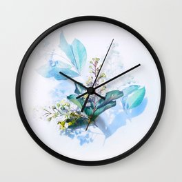 Beautiful Blue Turquoise Teal Cool Colors Flower Plant Arrangement Bouquet Winter Blossom Wall Clock