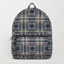 Simple beige blue plaid Backpack