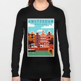 Vintage Amsterdam Holland Travel Long Sleeve T-shirt