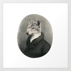 Lithography wolf Art Print